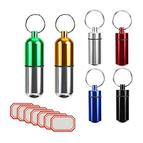 LANMOK 6 Stück Klein Unterwegs Pillenbox Wasserdichte Pillendose Schlüsselanhänger Metall Tablettenbox aus Aluminium für Wandern Reisen Camping Angeln Tablettendose