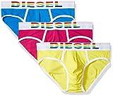 Diesel 3er-Pack Regenbogen-Logo Herren Slip, Blau/gelb/pink Große