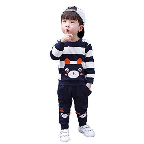 a Herbst Winter Kinder Baby Mädchen Junge Kleider Set Striped Bear Tops + Hosen Outfits Kleidung-Anzüge(2-5Jahre) (100CM 3 Jahre, Navy) (Herren Kleid Anzug Set)