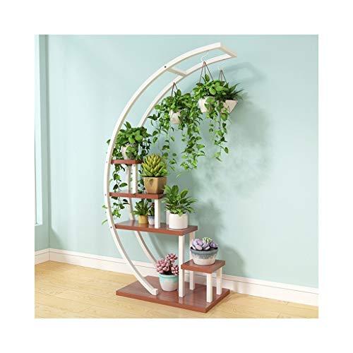 Unbekannt DE Blumenständer Indoor Wohnzimmer Hause mehrschichtige schmiedeeisen blumentopf Rack Pflanze Rahmen mehrfarbige dekorative grüner Salbei hängen Orchidee Regal (halbrund) (Color : Teak)