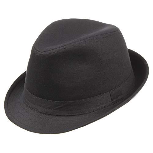 Lipodo Trilby Damen/Herren   Hut aus 100% Baumwolle   Stoffhut 58 cm   Sonnenhut Schwarz   Fedora mit Ripsband