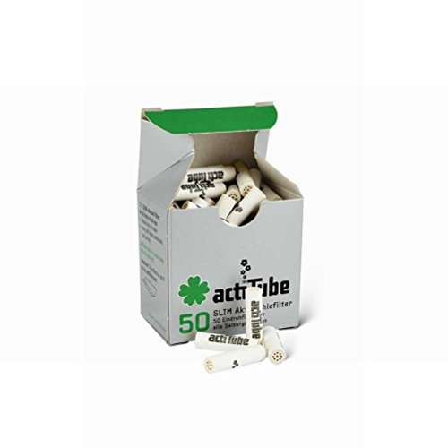 50x Filtri a carbone attivo per Tabacco da Rollare actiTube (Slim)