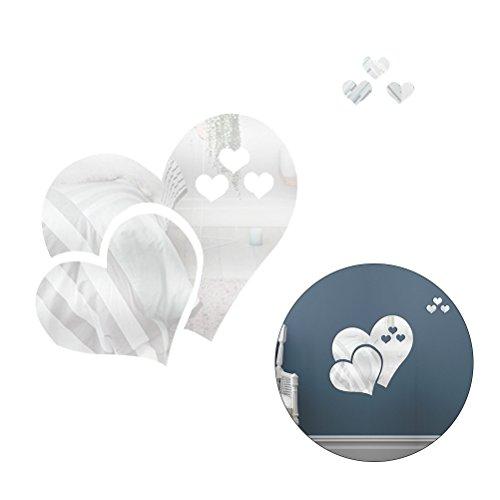 WINOMO Abnehmbare 3D Liebe Herz geformte Spiegel Wandaufkleber Spiegel Stil Moderne Acryl Aufkleber DIY Wandgemälde Home Decor (Silber)