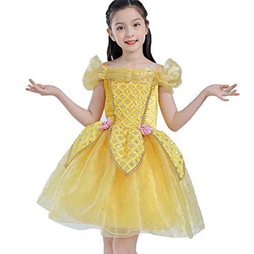 Little Girls Prinzessin Belle Aurora Aschenputtel-Kostüm, kurzes Tutu, Kleid für kleine Mädchen und Kleinkinder, gelb (Tutu Kleid Prinzessin Belle)