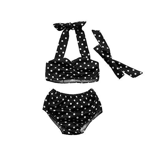Kleider Kinderbekleidung Honestyi Infant Kinder Baby Mädchen Bademode Straps Punkte Badeanzug Bade Bikini Set Outfits (Schwarz,80,90,100,110,120)