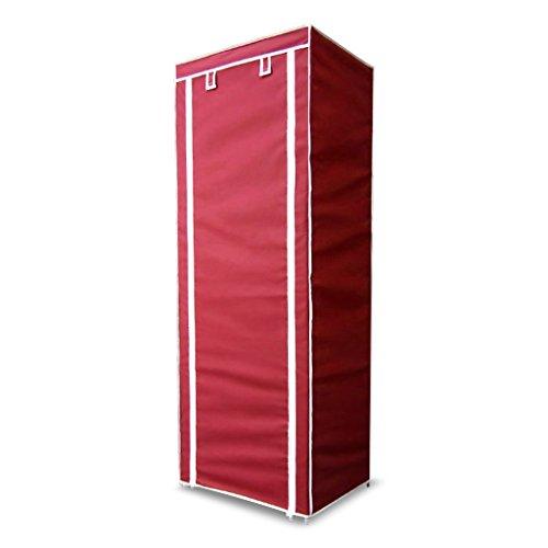 Finether Faltschrank Stoffschrank Textilschrank mit Kleiderstange und 2 Schubladen Faltkleiderschrank Stoffkleiderschrank Textilkleiderschrank faltbarer Kleiderschrank aus stoff für Schlafzimmer Camping stabil schmal 165 x 60 x 45cm rot
