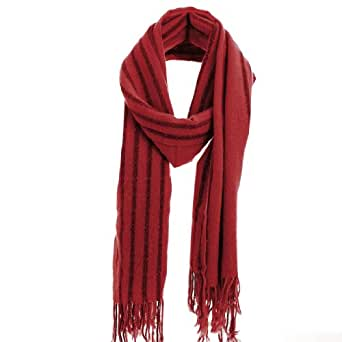 sourcingmap® Woman Chic Stripes Pattern Fringed Hem Knitted Long Scarf