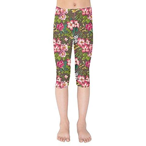 Tropical Vintage Florals Kids Capri Leggings - 7