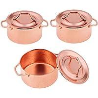 Sharplace 3 Piezas Cacerola de Sopa con Cobertera Ollas Metálicas Ultensilios de Cocina Juguete de Niños