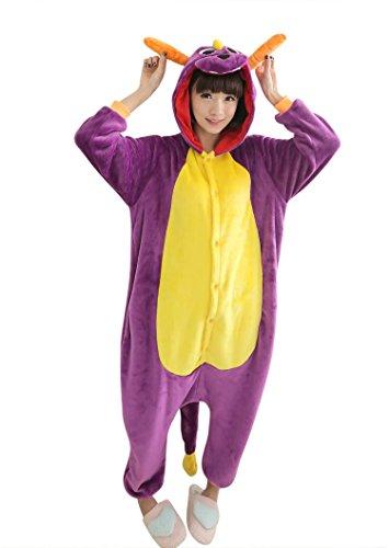 ABYED® Jumpsuit Tier Karton Fasching Halloween Kostüm Sleepsuit Cosplay Fleece-Overall Pyjama Schlafanzug Erwachsene Unisex Lounge,Erwachsene Größe XL -for Höhe 175-183CM Lila (Drachen Kostüme Erwachsene)