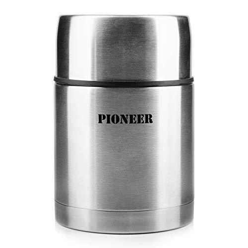Pioneer Thermo-Speisegefäß 0,7 L Edelstahl Doppelwandig Isolier-Suppenbehälter 8 Stunden Heiß 24 Stunden Kühl BPA-Frei - Gebürsteter Stahl (Edelstahl Isolier-becher)
