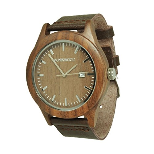 Munixwood Herren Damen Holz-Armbanduhr aus Walnussholz Holzuhr Braun Silber Analog Quarz Lederarmband Datum