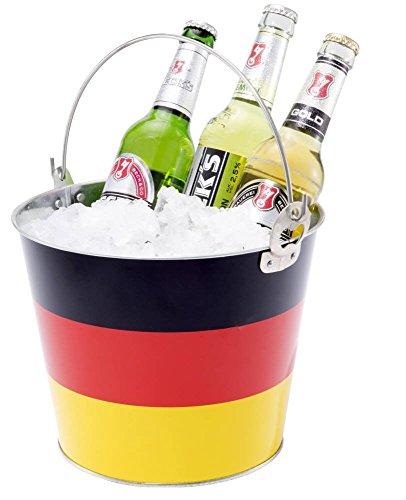 Getränke oder Eis-Eimer für Bier, Sekt oder Champagner Flaschenkühler Deutschland Design Fußball WM 2018 Fanartikel Getränkekühler Weltmeister Party Eiswürfel