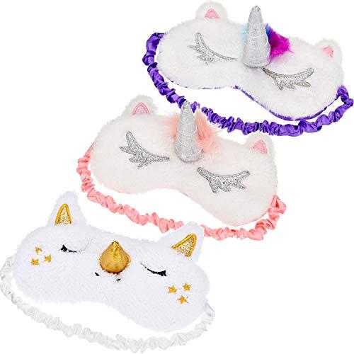 3 Stücke Einhorn Schlafmaske Einhorn Horn Augenabdeckung Weichem Plüsch Augenbinde für Bett Flug Auto Camping Verwenden (Bett Insgesamt)