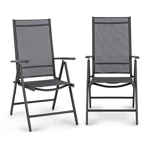 blumfeldt Almeria Garden Chair Gartenstuhl - Klappstuhl, 2-er-Set, 56,5 x 107 x 68cm, Rückenlehne mit 7 Positionen, luftdurchlässiges, wasserresistentes 2 x 2 Textilgewebe, Aluminium, Anthrazit