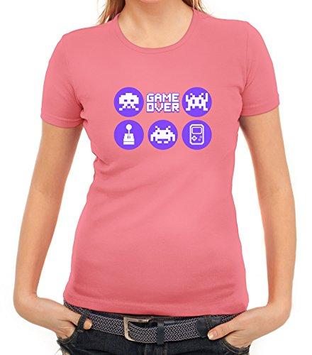 Gamer Damen T-Shirt mit Retro Game Icons Motiv von ShirtStreet Rosa