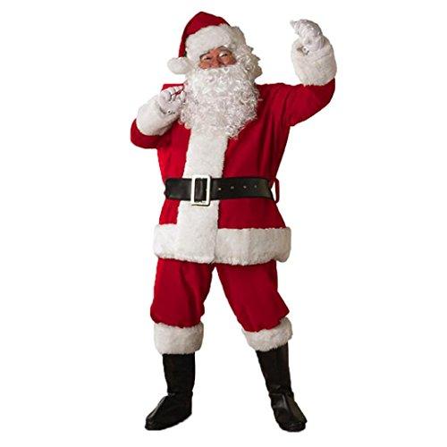 AMUSTER Weihnachtsmann Anzug Set Weihnachtsmannkostüm Santa Claus Nikolaus Cosplay Verkleidung Weihnachtsmann Kostüm Santa Anzug Weihnachtsmann Kleidung Rot (Free size, Rot)