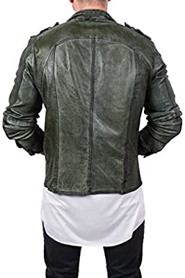 "genuine sheepkin leather shirt/ jacket used effects by ""lines by cris d. fedd"", military instinct"