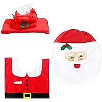 XGPT Santa Snowman Reindeer Elf Inodoro Funda De Asiento Cubierta De La Caja del Tejido De La Alfombra Set para La Decoración De Navidad 3 Unids,Santa