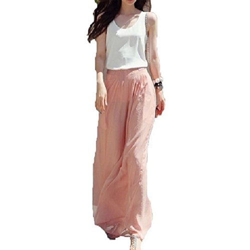 Internet Ladies Wide Leg Chiffon High Waist Pants Long Loose Culottes Trousers (Pink)