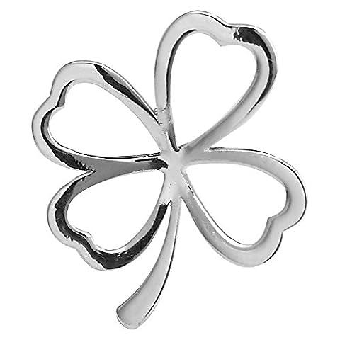 Okajewelry Plaqué argent quatre feuilles Colver Broche