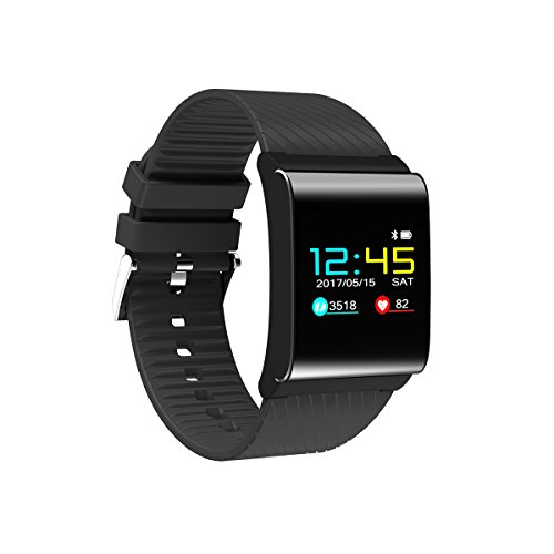 DIGGRO DB-01 - Fitness Armband mit Farbdisplay ( OLED Display, Blut-Sauerstoff, Blutdruck-Monitor, IP67, Fitness Tracker mit Pulsmesser Aktivitätstracker Schrittzähler Schlafanalyse für ios Android ) (Black)