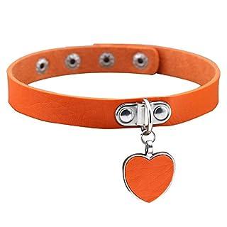 ALCYONEUS Punk Gothic Women Love Heart Pendant Faux Leather Choker Collar Necklace Bracelet (Orange)