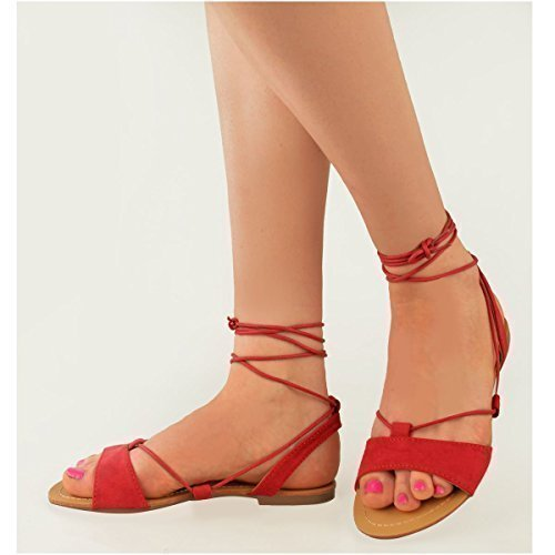 womens-ladies-tie-up-gladiator-flat-sandals-strappy-summer-metallic-shoes-size