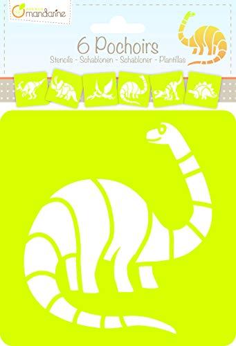 Avenue Mandarine 42449MD Set (mit 6 Schablonen, 15 x 15 cm, geeignet für Kinder ab 3 Jahre, für Filz- und Farbstifte, Farben oder Farbbomben, Dino) 6er Pack