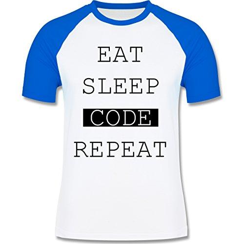 Programmierer - Eat-Sleep-Code-Repeat - zweifarbiges Baseballshirt für Männer Weiß/Royalblau