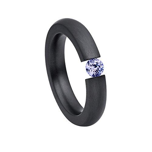 Heideman Ring Damen Alterna oval aus Edelstahl schwarz matt Damenring für Frauen mit Swarovski Stein Zirkonia lila im Brillant Schliff 4mm (Diamant-verlobungsringe, Schwarz)