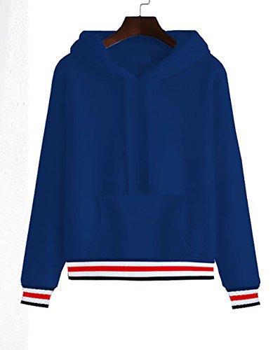 Felpa Donna Con Cappuccio Invernali A Strisce Maniche Lunghe Sweatshirt Hoodies Sportiva Casuali Maglie Elegante Pullover Moda Tasche Coulisse Felpe Imbottitura Calda Blu