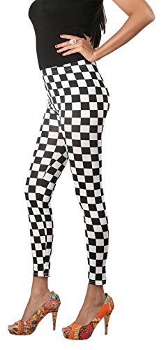 Ravki Woman High Quality Stretchable Combed Cotton Printed Fashion Pants Summer Legging Tights (T2319_Black&White_Onesize)