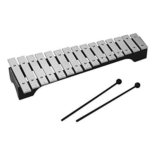 Muslady Glockenspiel 15-Note Xylophon Holzsockel Aluminiumstangen mit Mallets Percussion Musikinstrument Geschenk mit Tragetasche