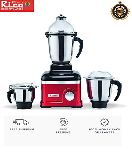 Rico Mixer Grinder 1 HP with Heavy Copper Motor 100% Heavy Grinding with 3 Jars with Metal Base (Red) Unbreakable Jar Shock Proof with Anti Skid Legs 2 Years Warranty of whole Product Including Plastic & small rubber parts