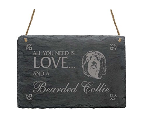 Schiefertafel « All You Need is LOVE and a BEARDED COLLIE » - Schild mit MOTIV - Hund Haustier Dekoration Dekoschild