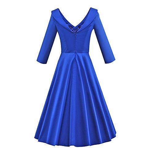 iLover Damen Vintage 50er 60er 3/4 Ärmel V-Ausschnitt Schwingen Rockabilly Pinup Ballkleid Partei Kleid Blau