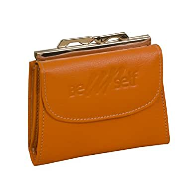 Ezeebags The Perfect Leather Ladies Frame Purse By008V1Orange