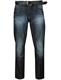 Mens Straight Leg Zip Fly PU Belted Jeans
