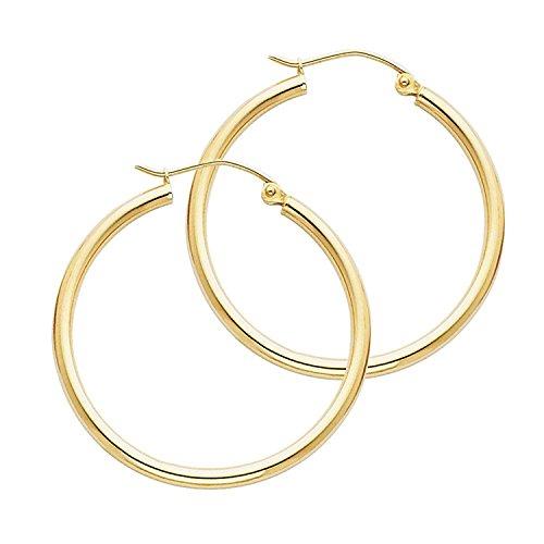 14 Karat 585 Gold Hochglanz Creolen Ohrringe Gelbgold - Breite 2 mm - Große Wählbar (35 Millimeter)