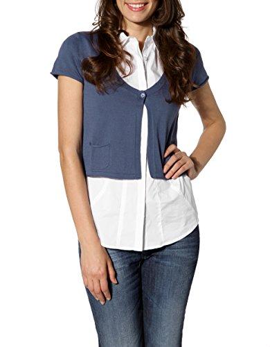 CINQUE Damen Cardigan Baum Wolle Jacke Unifarben, Größe: 38, Farbe: Blau