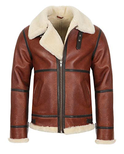 Hollert German Leather Fashion Bomberjacke - B9 Herren Lammfelljacke Winterjacke Größe 3XL, Farbe...