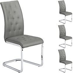 IDIMEX Lot de 4 chaises de Salle à Manger Chloe piètement chromé revêtement capitonné synthétique Gris