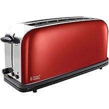 Russell Hobbs 21391-56 Colours Flame Red - Tostadora, ranura larga, función de descongelado y cancelación, calienta panecillos