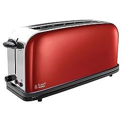Russell Hobbs 21391-56 Langschlitz-Toaster Colours Plus+ Flame Red, extra breiter Toastschlitz, Brötchenaufsatz, 1000 Watt, rot