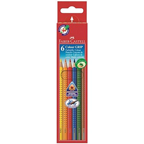 Faber-Castell GRIP blau, braun, grün, orange, rot, gelb 6Stück Farbstift-Buntstift (6Stück (S), blau, braun, grün, orange, rot, gelb, Holz, mehrfarbig, dreieckig, Karton) -