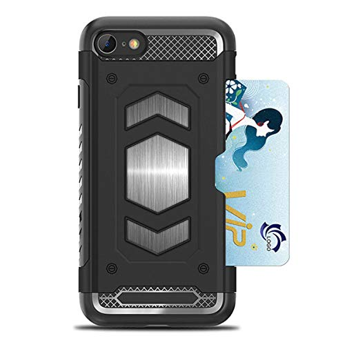 Funda iPhone 7 8 - Funda [Negro] Silicona Protectora y Ranuras para Tarjetas &Metal Magnética, Carcasa Choque Absorción Cover Ultra Armour Anti-Golpes [Simpli Fit] Funda para Apple iPhone 7/iPhone 8
