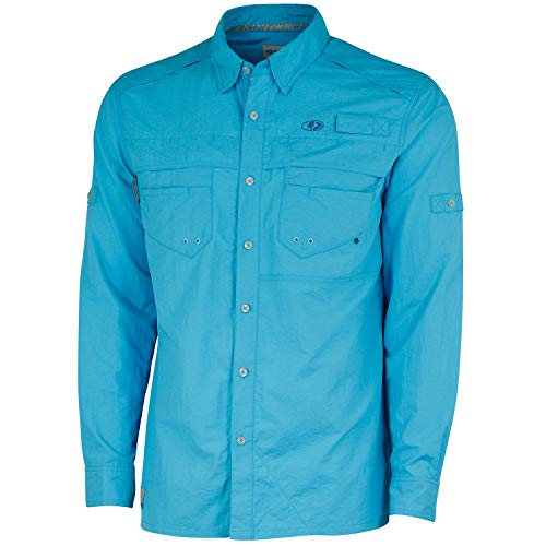 Mossy Oak Herren Men's Long Sleeve Performance Fishing Shirt Langärmelig, Blue Horizon, XXX-Large -