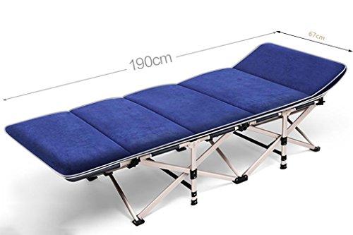 Ailin Home- Klappbett Einzelsessel Nap Bed Unterkunftsbett Camping Bed Office Einzelbett Strandbett (Farbe : Blau)