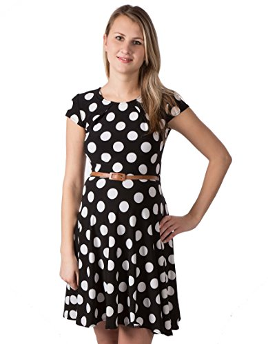 Dress Lara Kleid Etuikleid Detail Arm Damen Umstandsmode/Kleid (XL (42-44), Schwarz & Punkten)